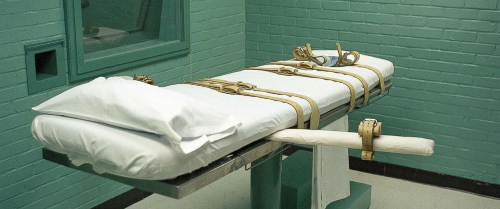 PHOTO: Death chamber gurney for lethal injection at the Huntsville prison in Texas.