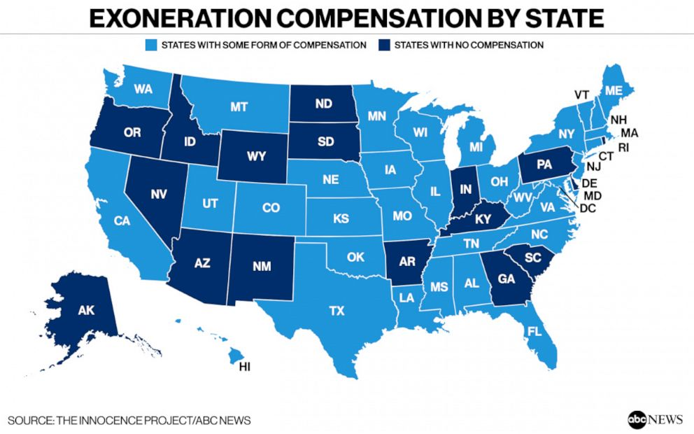 PHOTO: Exoneration Compensation by State