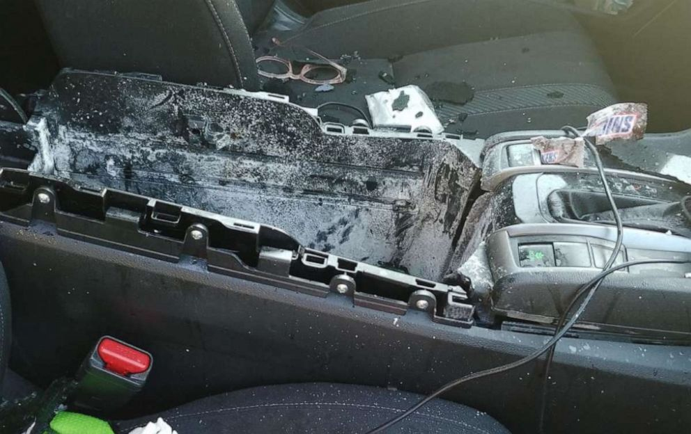 PHOTO: damage to car from exploding dry shampoo can