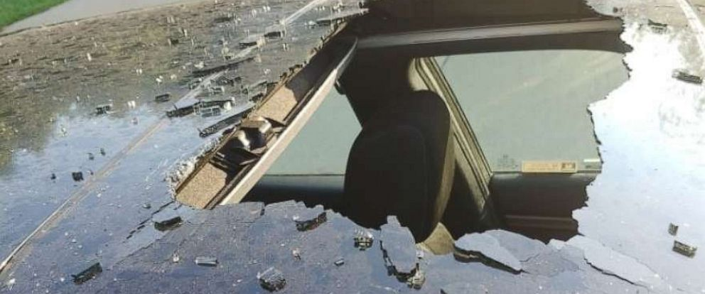 PHOTO: Damage to the car roof from an exploding dry shampoo can.