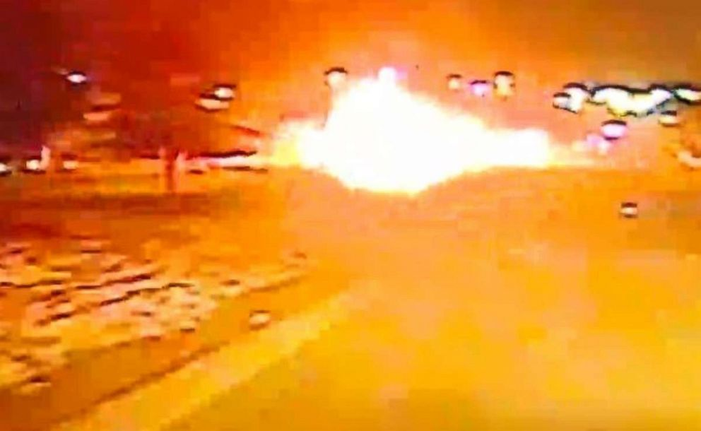 PHOTO: A suspected drunk driver plowed into the back of a Dodge truck and exploded in a massive fireball on Denton Highway in Haltom City, Texas, on Wednesday, Jan. 16, 2019.