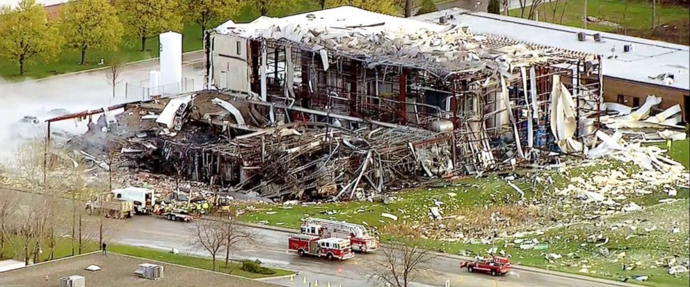 PHOTO: Emergency crews work at the scene of an explosion at a manufacturing plant in Illinois, May 3, 2019.