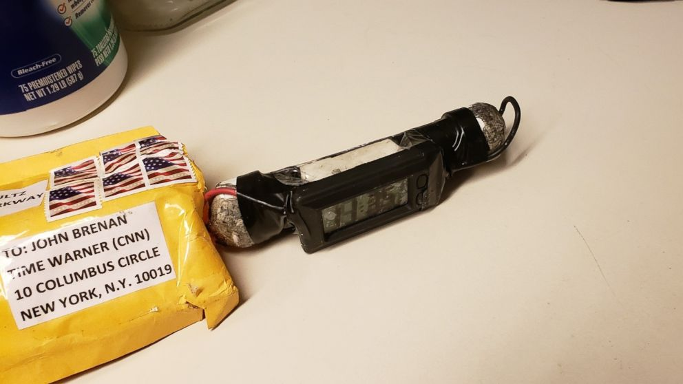 A photo of the device recovered from CNN by the NYPD bomb squad on Oct. 24, 2018, as confirmed by two law enforcement officials.