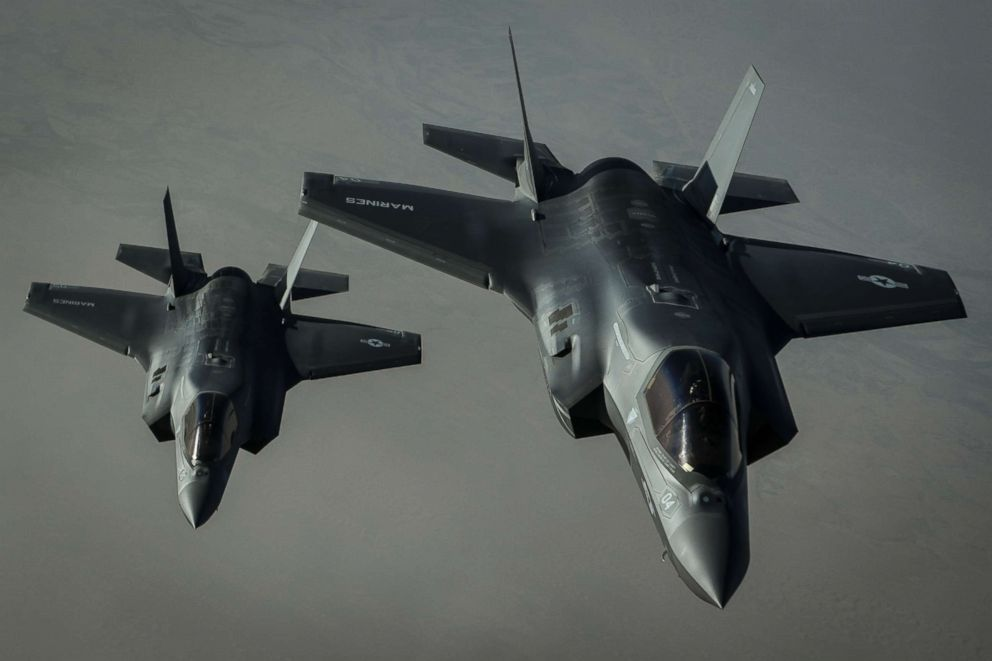 Two U.S. Marine Corps F-35B Lightning II's assigned to the Marine Fighter Attack Squadron 211, 13th Marine Expeditionary Unit, fly a combat mission over Afghanistan, Sept. 27, 2018.