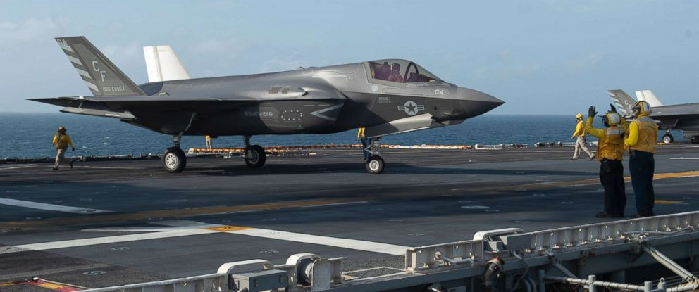 PHOTO: An F-35B Lightning II prepares to launch from the flight deck of USS Essex during a regularly scheduled deployment of Essex Amphibious Ready Group in the Indian Ocean, Sept. 2, 2018.