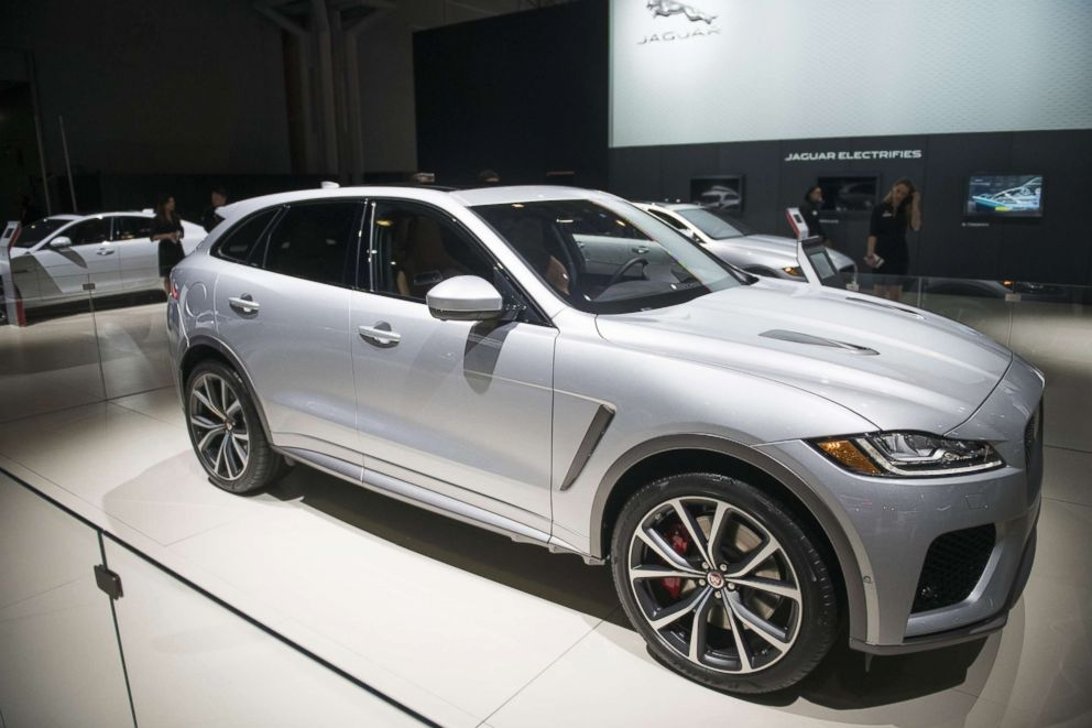 The Jaguar Land Rover Automotive Plc F-Pace SVR crossover vehicle is displayed during the 2018 New York International Auto Show (NYIAS) in New York, March 29, 2018.