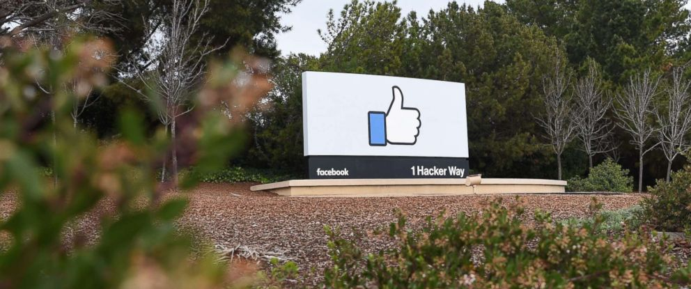 PHOTO: A sign is seen at the entrance to Facebooks corporate headquarters location in Menlo Park, Calif. on March 21, 2018.