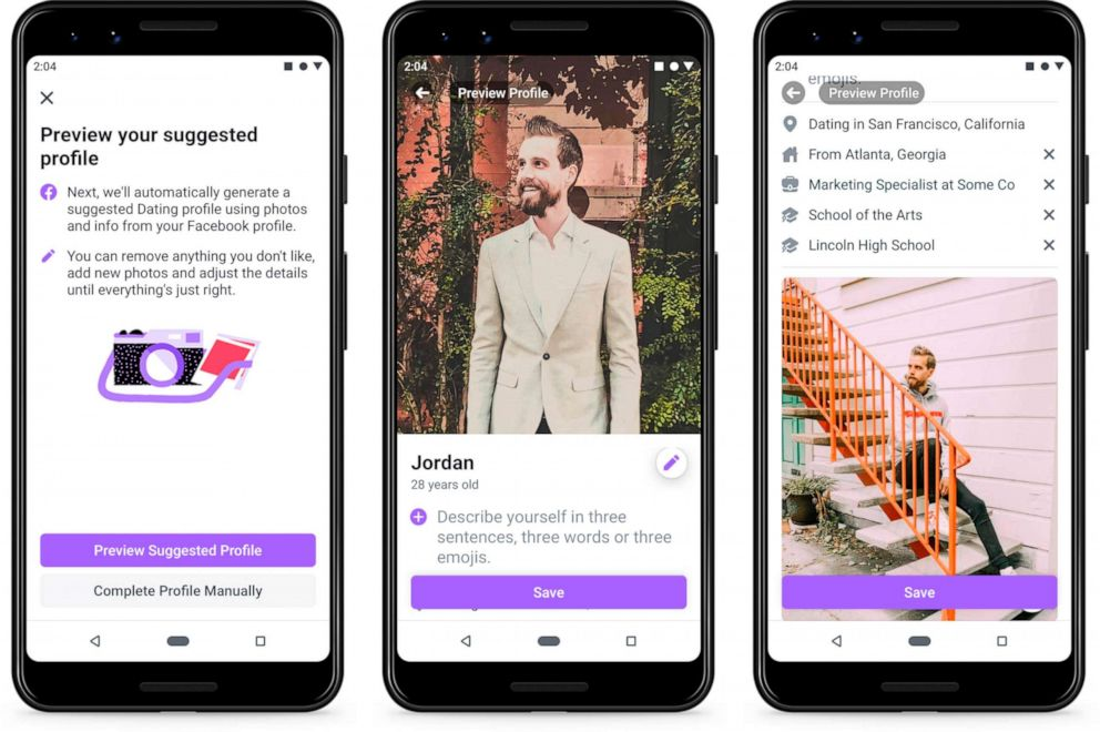 online dating PHOTO: This undated product image provide by Facebook shows screenshots of Facebook Dating, a mobile-only matchmaking service. On Thursday, Sept. 5, 2019, the service will launch in the U.S.