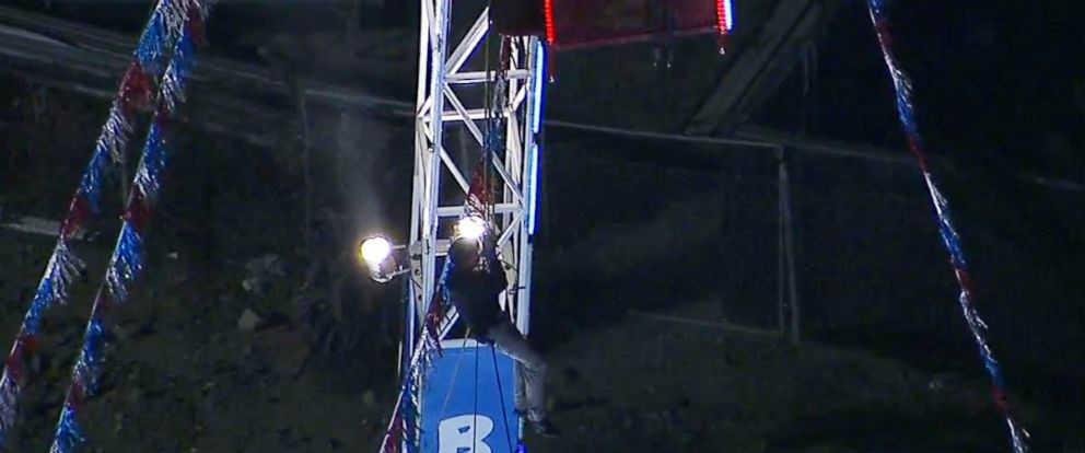 PHOTO: One man became stranded dangling from a bungee jump before firefighters rescued him at the Ventura County Fair on Aug. 2, 2017.