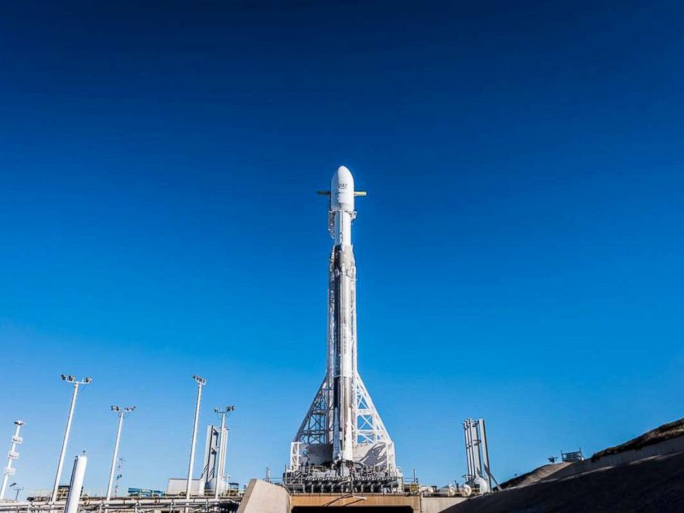 PHOTO: The Falcon 9 rocket sits on the launch pad prior to launch, Feb. 21, 2018, Vandenberg Air Force Base in California.