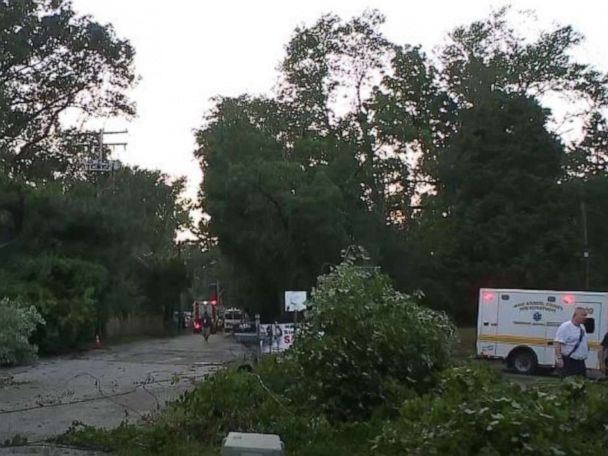 19 trapped, including children, when tree falls on garage during thunderstorm