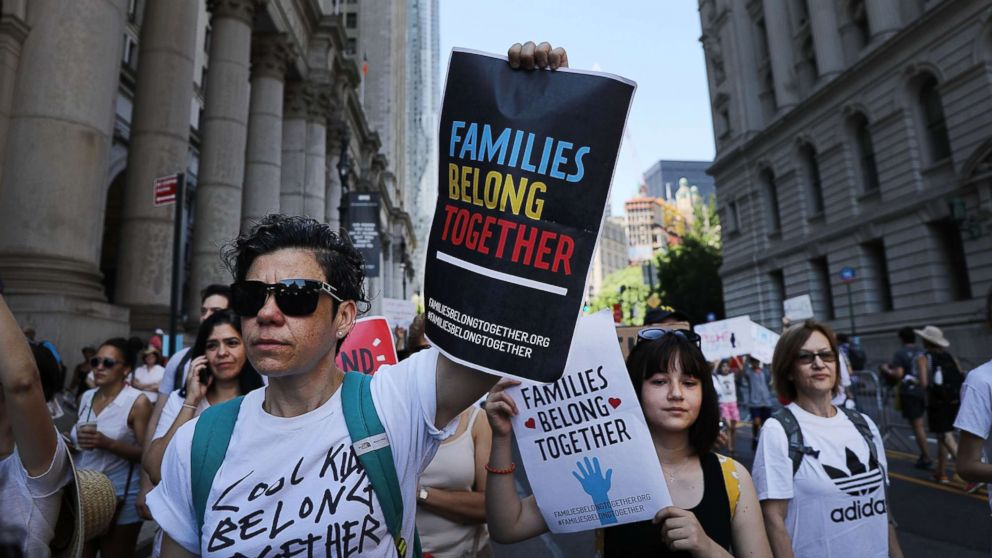 Thousands of people march in support of families separated at the U.S.-Mexico border on June 30, 2018 in New York.