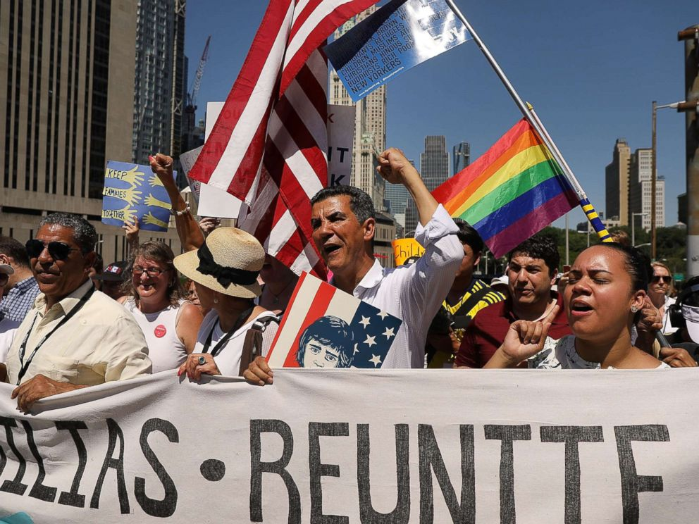 PHOTO: Thousands of people march in support of families separated at the U.S.-Mexico border on June 30, 2018 in New York.