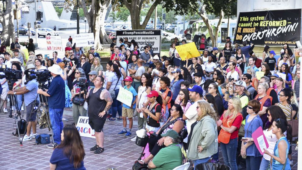 Crowd at The Women's March LA Rally for Families Belong Together - A Day of Action at Los Angeles City Hall on June 28, 2018 in Los Angeles.