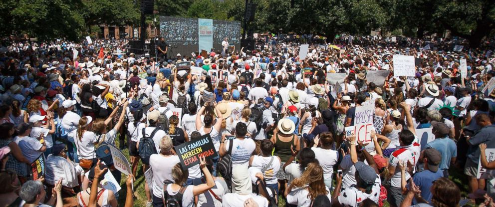 PHOTO: Protesters gather in Lafayette Park, across from the White House, for the Families Belong Together March, Washington DC, June 30, 2018.