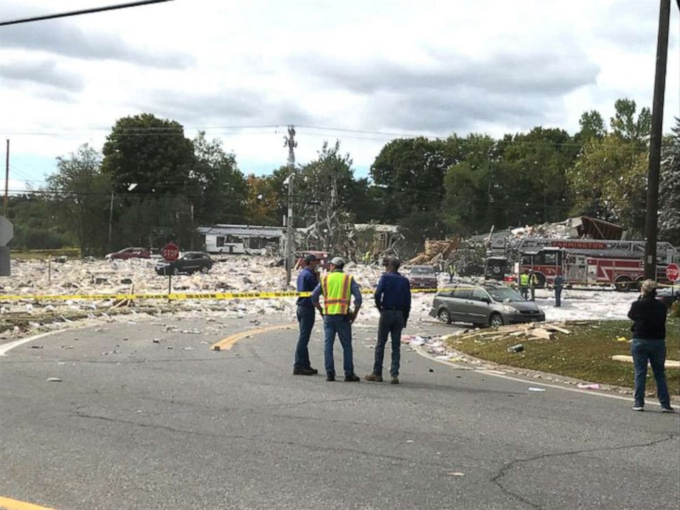 PHOTO: The scene of an explosion in Farmington, Maine, Sept. 16, 2019.