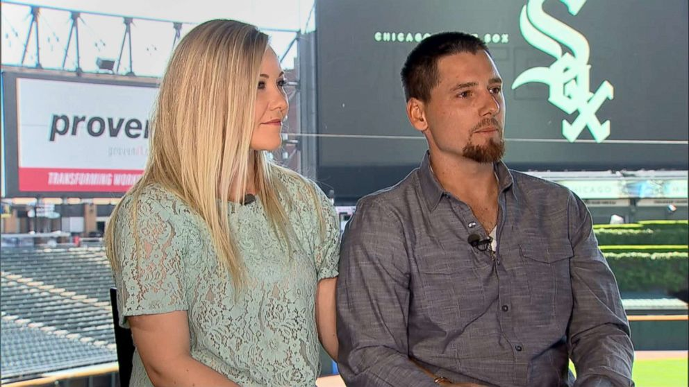 PHOTO: White Sox pitcher Danny Farquhar talks with ABC News, May 31, 2018, with his wife, Lexie Farquhar, following his recovery from a brain hemorrhage earlier this year.