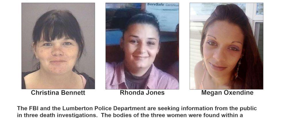 PHOTO: Christina Bennet, Rhonda Jones and Megan Oxendine were found dead just weeks apart within a four-block radius in Lumberton, North Carolina, in 2017.