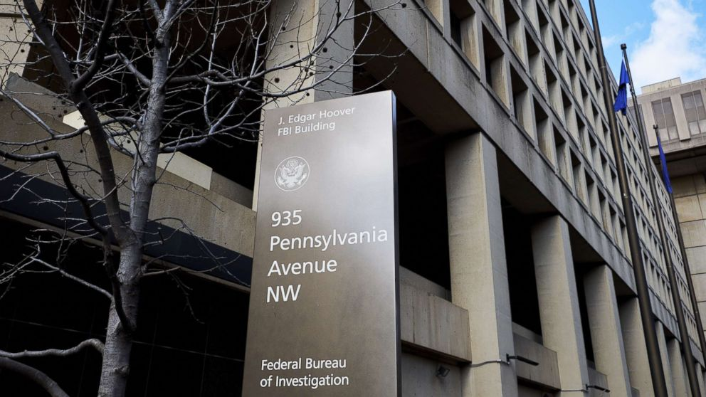 A sign stands outside the Federal Bureau of Investigation (FBI) headquarters in Washington, D.C., Feb. 2, 2018.