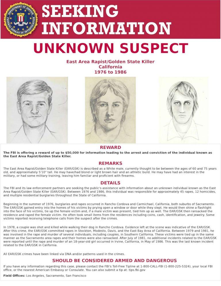 PHOTO: FBI poster for the Golden State Killer.