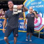Members of the Fire Department of the City of New York (FDNY) demonstrate workout moves they use to stay in life-saving shape.