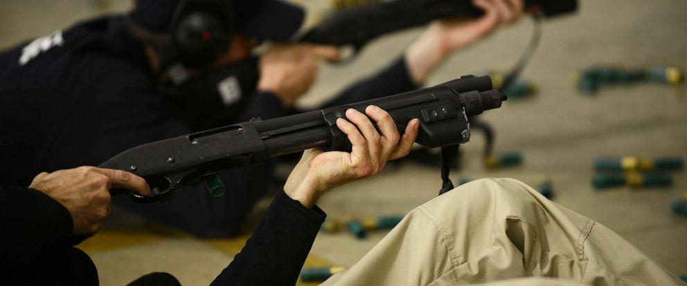 PHOTO: Future Federal Air Marshals participate in a shooting exercise inside one of the shooting houses at the William J. Hughes FAA Technical Centers Federal Air Marshal Service Training Center in Egg Harbor Township, N.J., March 29, 2017.