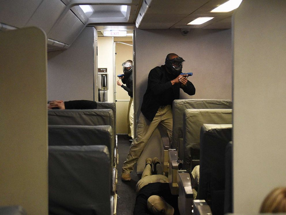 PHOTO: A terrorist attack is simulated during a training exercise inside a remake of a commercial Boeing 767 passenger plane at the Federal Air Marshal Service Training Center in Egg Harbor Township, N.J., March 29, 2017.