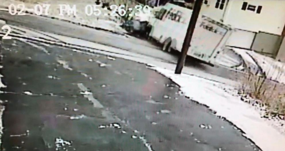 PHOTO: In a surveillance video obtained by ABC News a FedEx truck is seen spiraling out of control on a Connecticut street.