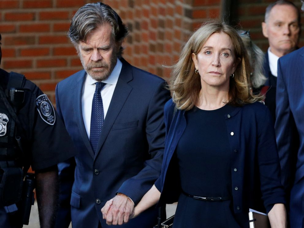 PHOTO: Actress Felicity Huffman leaves the federal courthouse with her husband William H. Macy, after being sentenced in connection with a nationwide college admissions cheating scheme in Boston, Mass., September 13, 2019.