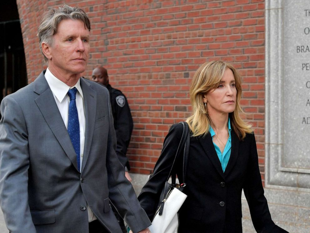 PHOTO:Felicity Huffman exits the John Joseph Moakley U.S. Courthouse after appearing in Federal Court to answer charges stemming from college admissions scandal, April 3, 2019,in Boston.