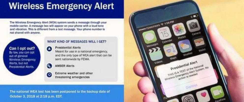 PHOTO: A photo from the Federal Emergency Management Agency shows what the alert will look like for a nationwide test scheduled for October 3, 2018.