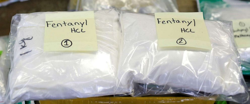 FILE PHOTO: Plastic bags of Fentanyl are displayed on a table at the U.S. Customs and Border Protection area at OHare International Airport in Chicago in this Nov. 29, 2017, file photo.