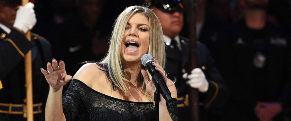 PHOTO: Fergie performs the national anthem prior to an NBA All-Star basketball game, Feb. 18, 2018, in Los Angeles.