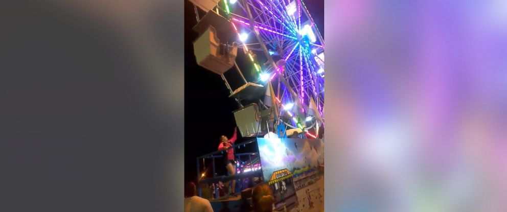 PHOTO: A carnival worker fell from a malfunctioning ride at the Central Carolina Fair in Greensboro, N.C., Sept. 15, 2017.
