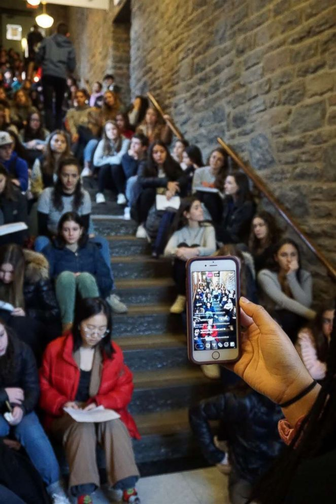 Students at the Ethical Culture Fieldston School in the Bronx, New York, protest in response to the school's handling of a disciplinary incident relating to a racist video.