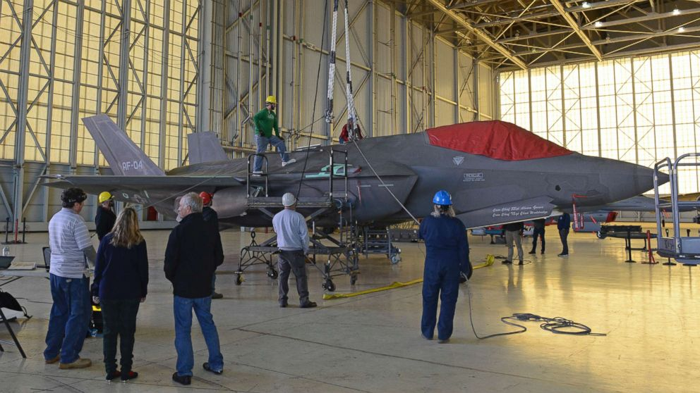 The 461st Flight Test Squadron's F-35 aircraft AF-04 sits in Hangar 1600 as a test team verifies crash and disabled aircraft recovery procedures, Dec. 12, 2018.