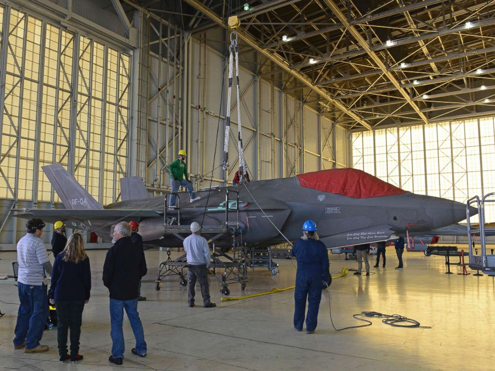 PHOTO: The 461st Flight Test Squadrons F-35 aircraft AF-04 sits in Hangar 1600 as a test team verifies crash and disabled aircraft recovery procedures, Dec. 12, 2018.