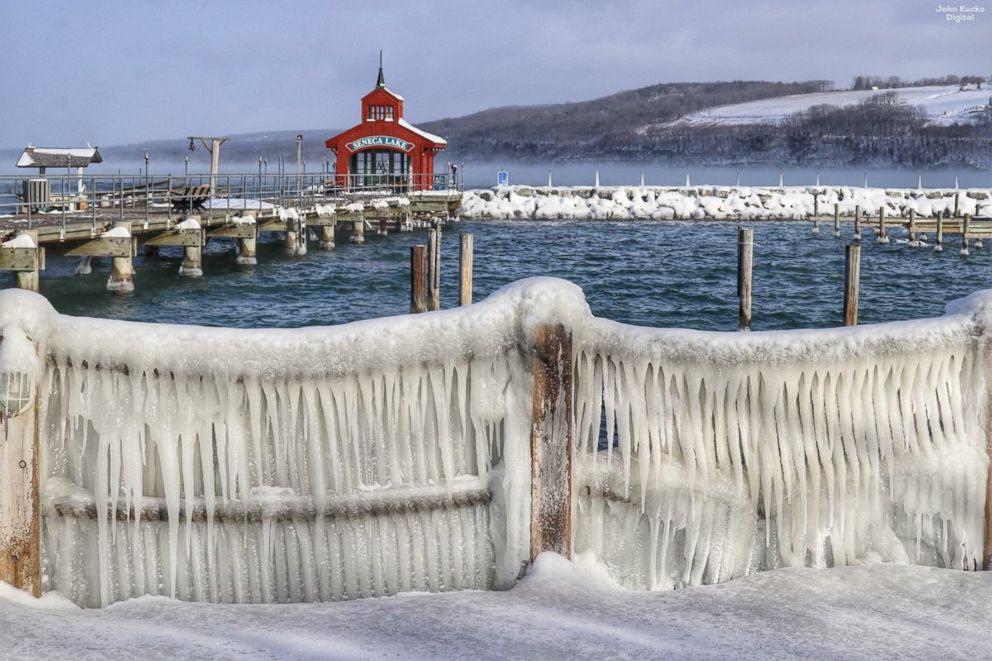 Icy piers at Finger Lakes, N.Y., Jan. 21, 2019.