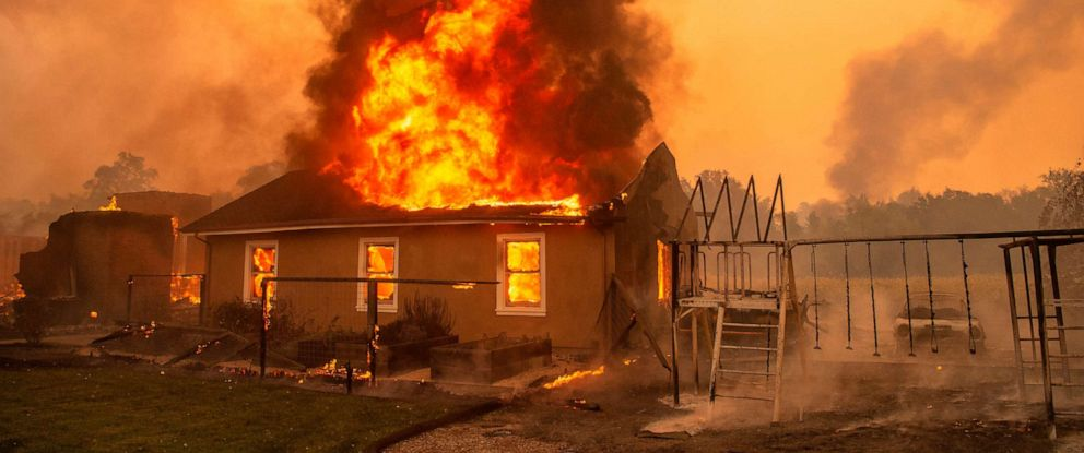 PHOTO: A home burns at a vineyard during the Kincade fire near Geyserville, California on October 24, 2019.