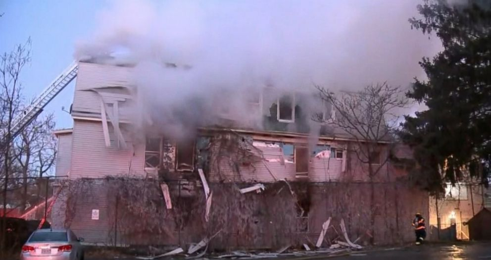 PHOTO: A firefighter has died after becoming trapped while battling a multi-alarm blaze in Worcester, Mass., Dec. 9, 2018.