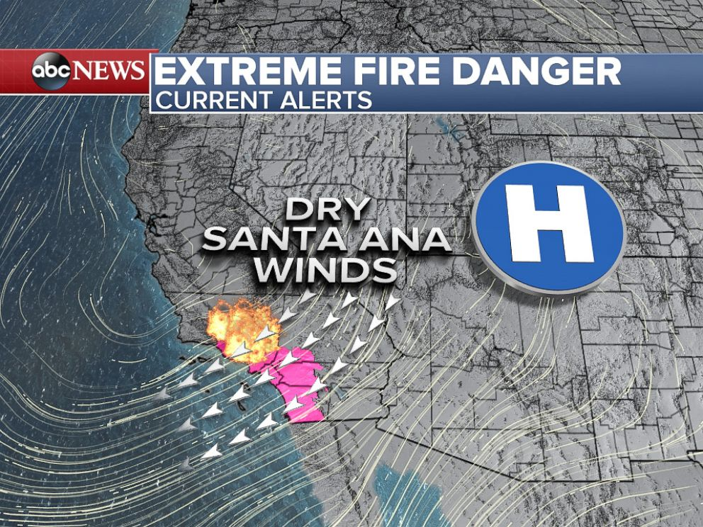PHOTO: Classic Santa Ana wind setup with high pressure bringing strong offshore winds to Southern California.