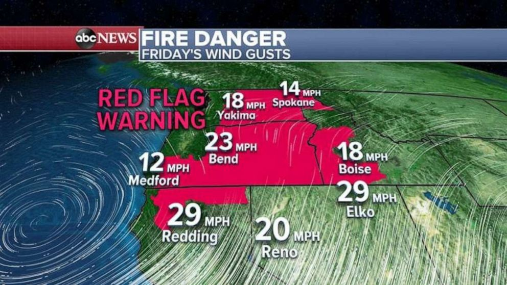 PHOTO: Red flag warnings are in place in the Northwest, where fires are possible.