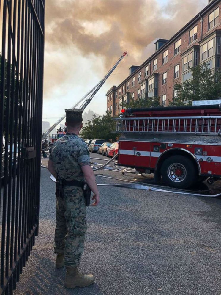 US Marines sprint toward raging fire to help save dozens of