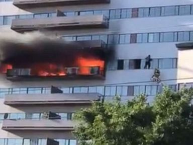 Fire erupts in 25-story Los Angeles residential tower