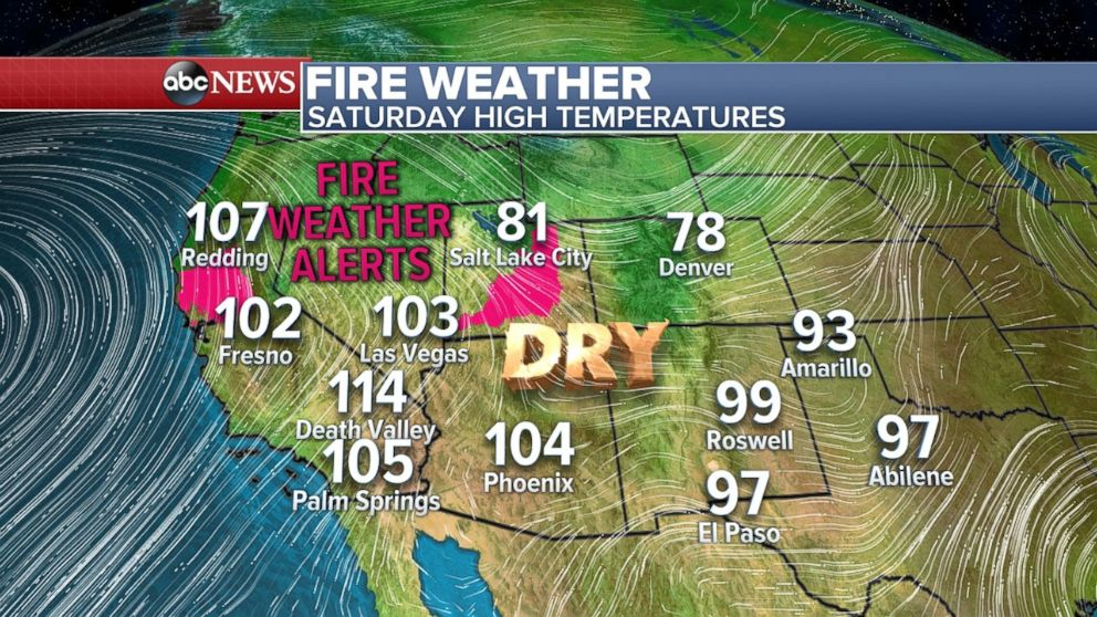 A threat for fire exists in Utah and Northern California on Saturday.
