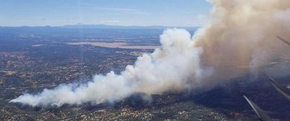 PHOTO: The Mountain Fire, seen here Aug. 22 covering about 300 acres in California, spread to approximately 600 acres and was about 90% contained as of early Monday.