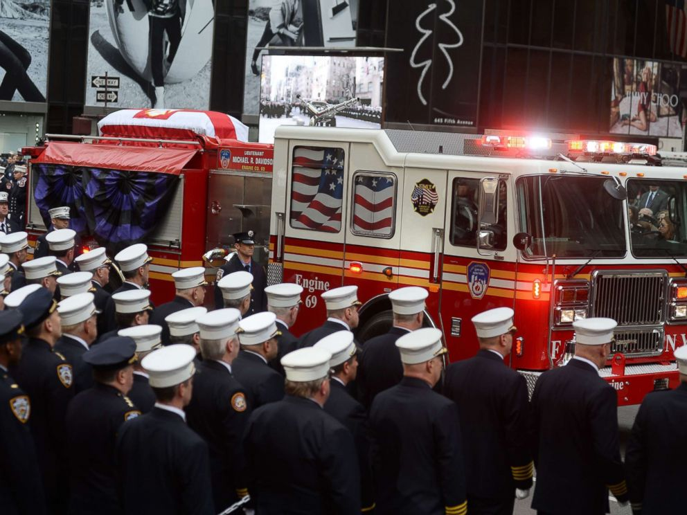 PHOTO: A funeral for firefighter Michael Davidson at St. Patricks Cathedral, New York, March 27, 2018.