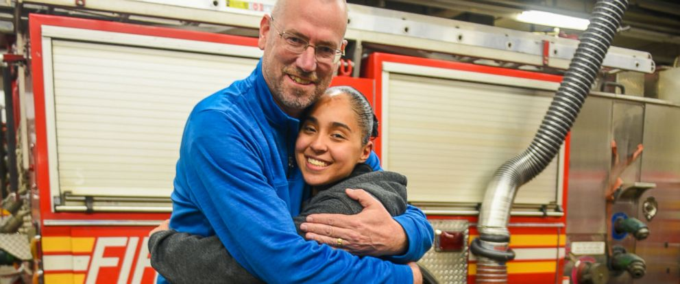 PHOTO: Anissa Cruz, 21, reunited with retired firefighter Stephen McNally in New York this month. McNally saved Cruz and her mother from an apartment fire in 2002.