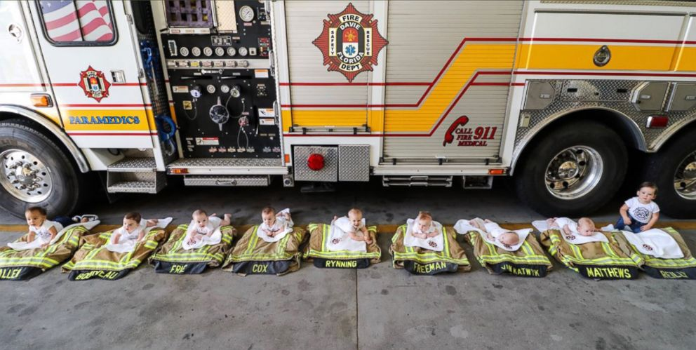 PHOTO: A Florida firehouse welcomed 9 babies in 10 months into their family, in Davie, Fla.