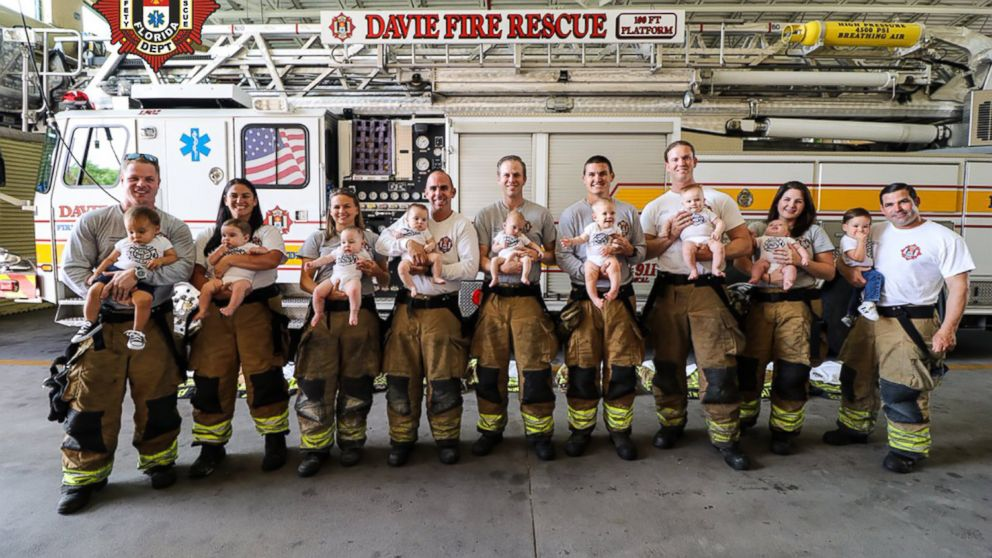 A Florida firehouse welcomed 9 babies in 10 months into their family, in Davie, Fla.